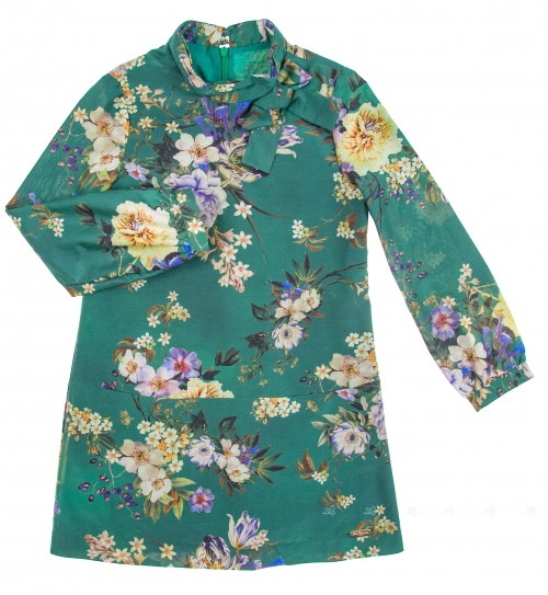 Green Silk & Cotton Floral Fress with Bow