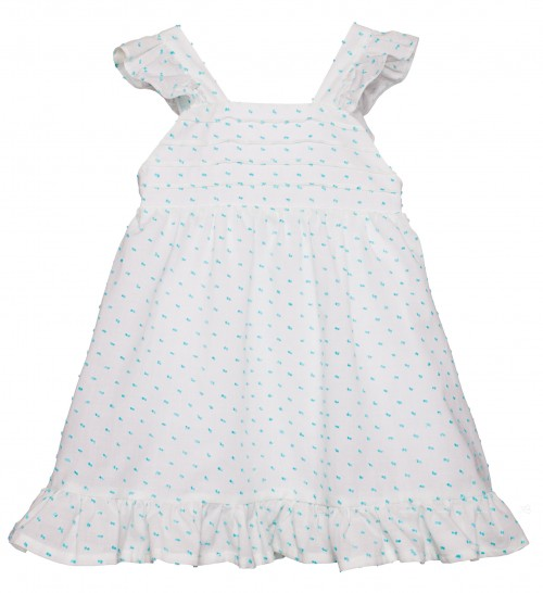White & Aquamarine Polka Dot Dress with Frills & Ribbon