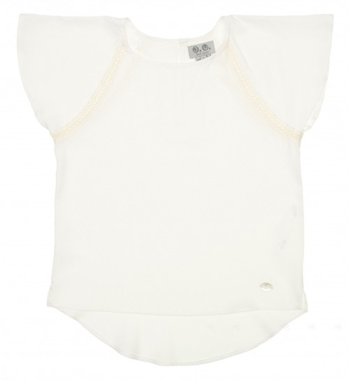 Girls Ivory Viscose Blouse with Dip Hem