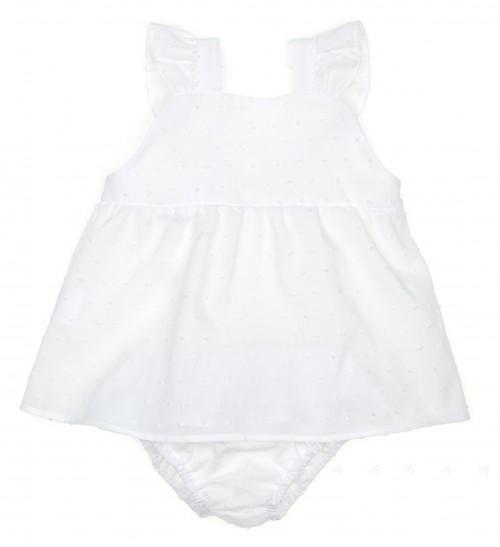 White Polka Dot Dress & Ruffle Knickers Set