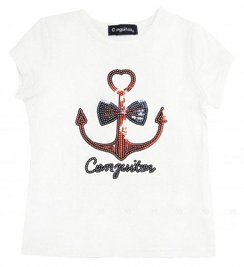 White Cotton & Sequins Anchor T-Shirt