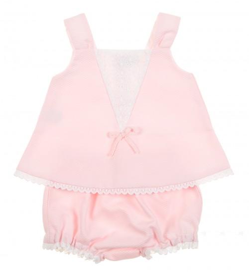 Baby Girls Pink Dress & Knickers Set
