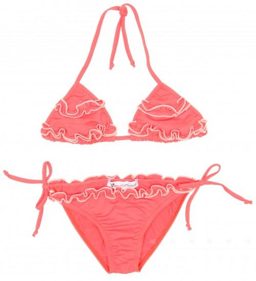 Girls Coral Ruffle Bikini