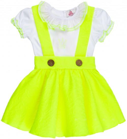 Conjunto Niña Camiseta Blanca & Pichi Estampado Floral Amarillo Flúor