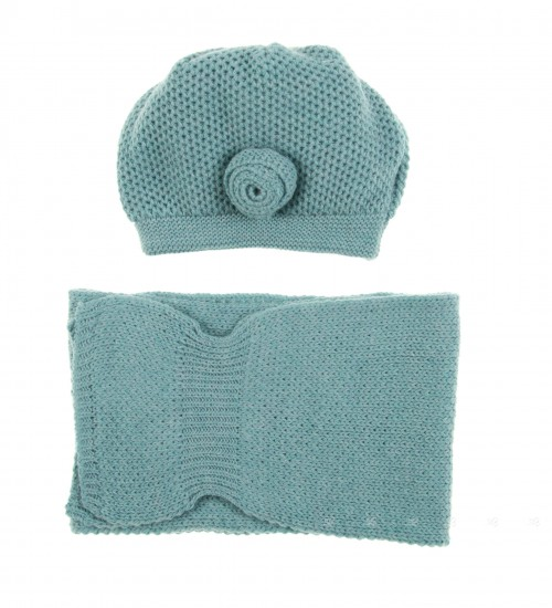 Turquoise Hat & Scarf Set with Rosette Applique