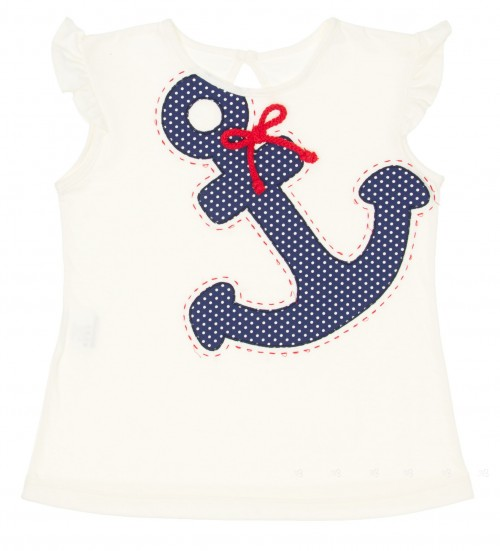White & Navy Anchor T-Shirt