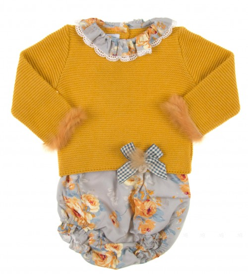 Mustard Knitted Sweater & Floral Shorts Set