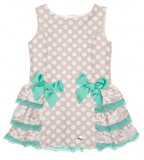Beige & Aqua Green Jacquard Spot Dress
