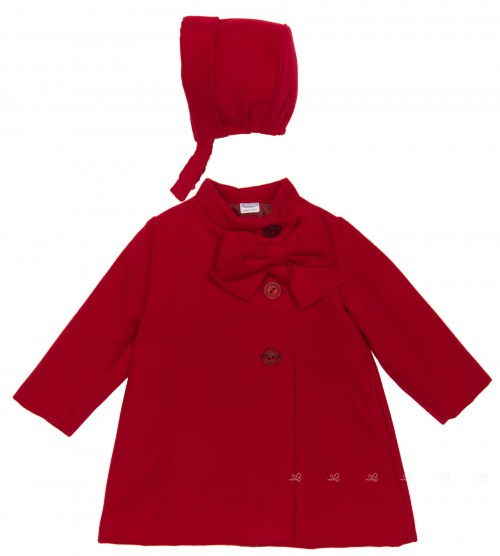 Red Coat With Bow & Bonnet Set