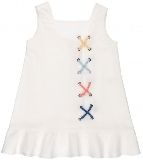 Rochy Vestido Niña Algodón Blanco & Cuerdas Colores