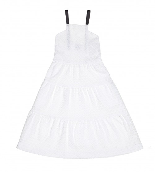 Girls White Cotton Broderie Midi Dress