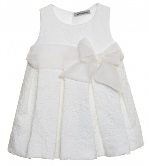 Ivory Jacquard Structured Dress with Silk Frill