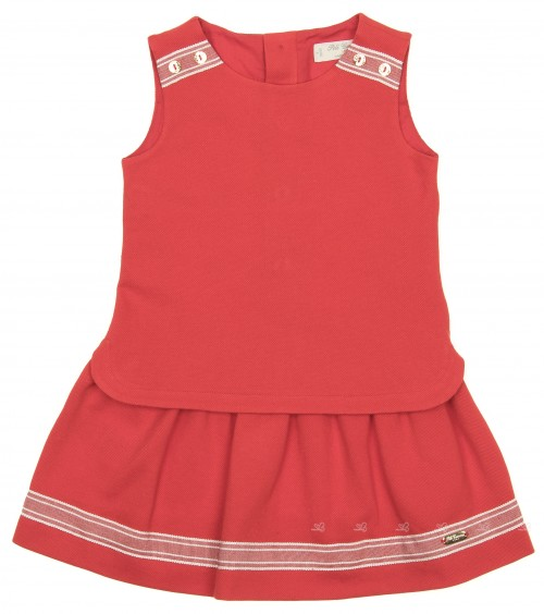 Red Top & Skirt Effect Cotton Dress