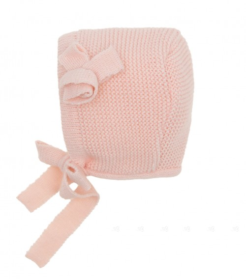 Blush Pink Knitted Bonnet with Flower