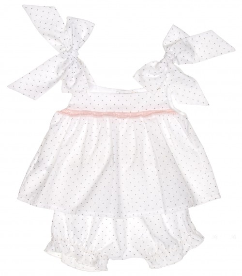 Pink & White Extra Soft Cotton Polka Dot 2 Piece Set
