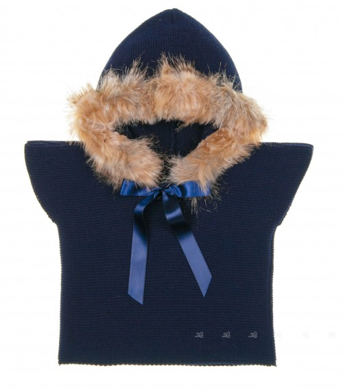 Blue Knitted Poncho Gillet With Synthetic Fur Hood & Satin Bow