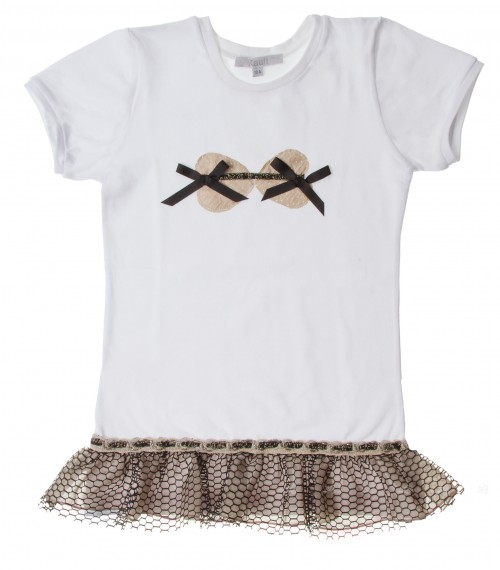 White Frill Top with bows