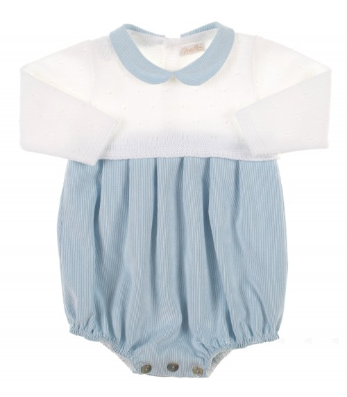 Blue & White Knitted Baby Shortie