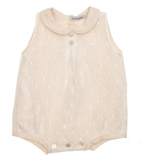 Beige Softt Polka Dot Tulle Shortie