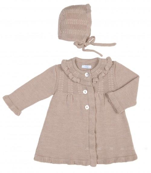 Baby Girls Beige Knitted Pram Coat & Bonnet Set