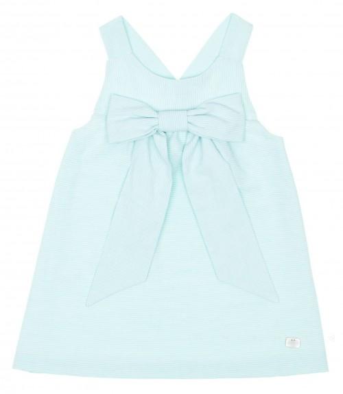 Aquamarine & White Stripe Cross Back Dress with Bow