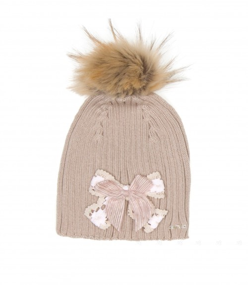 Beige Knitted Hat with Synthetic Fur Pom-Pom