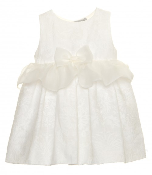 Ivory Embroidered Dress With Silk Frill & Bow