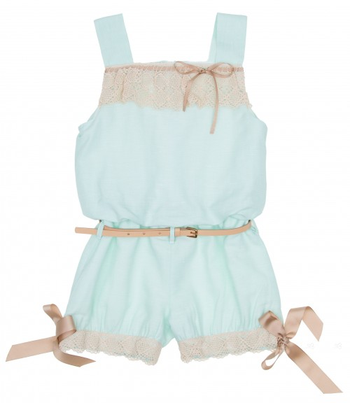 Girls Pastel Green Playsuite with Belt