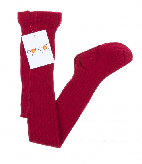 Rubi Red Ribbed Cotton Tights