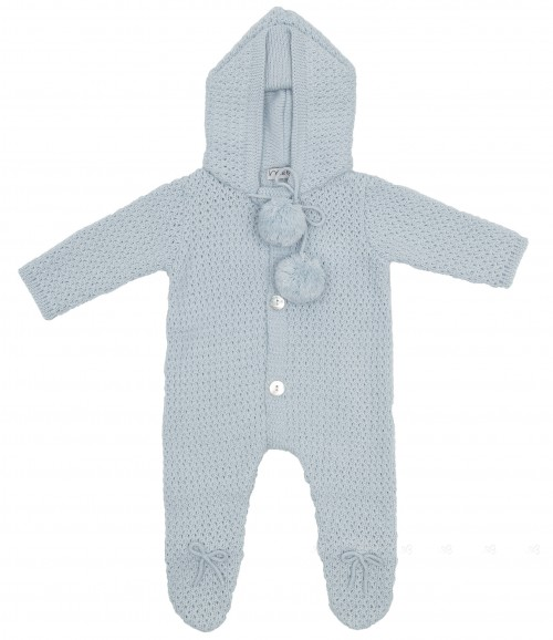Pale Blue Knitted Babygrow With Hood & Pompoms
