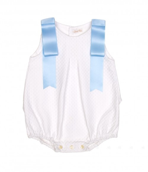 White Cotton Shortie with sky blue bows
