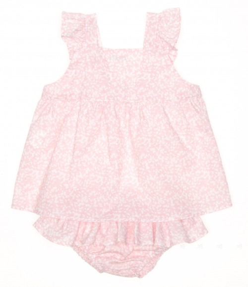 Pink Floral Dress & Ruffle Knickers Set