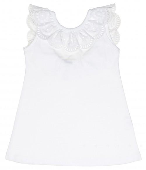 Girls White Cotton Sun Dress with Lace Ruffle Collar