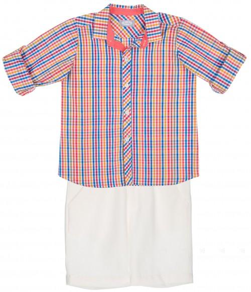 Rochy Conjunto Niño Camisa Cuadros Multicolor & Pantalón Corto Blanco