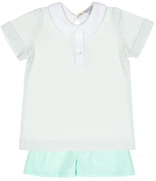 Boys Green Polo Shirt & Polka Dot Shorts Set