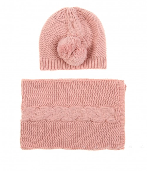 Dusky pink Knitted Hat & Scarf Set with Pompoms