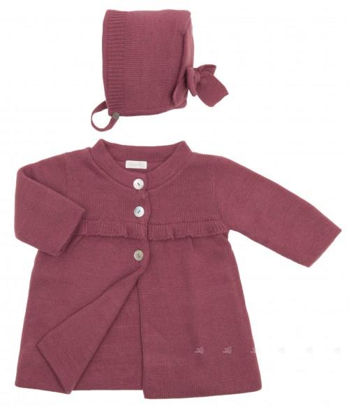 Baby Burgundy Pink Knitted Coat & Bonnet Set