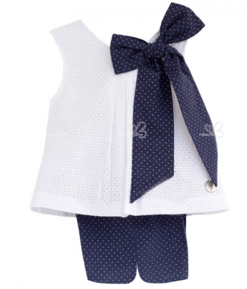 White top & navy polka dot short set