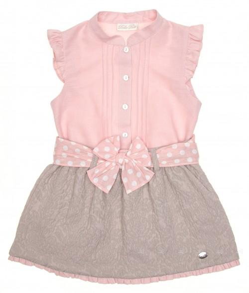 Pale Pink Blouse & Beige Jacquard Skirt Set