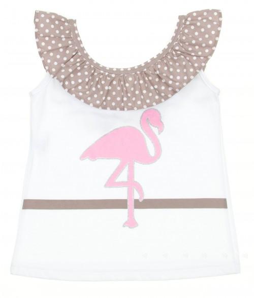 White & Pink Flamingo Beach Camisole