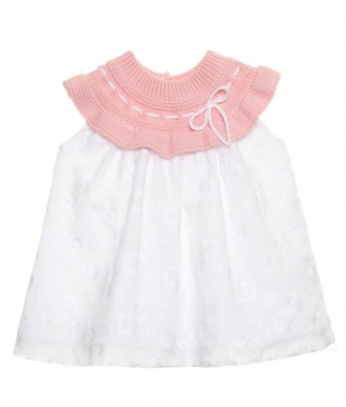 Vestido combinado punto rosa