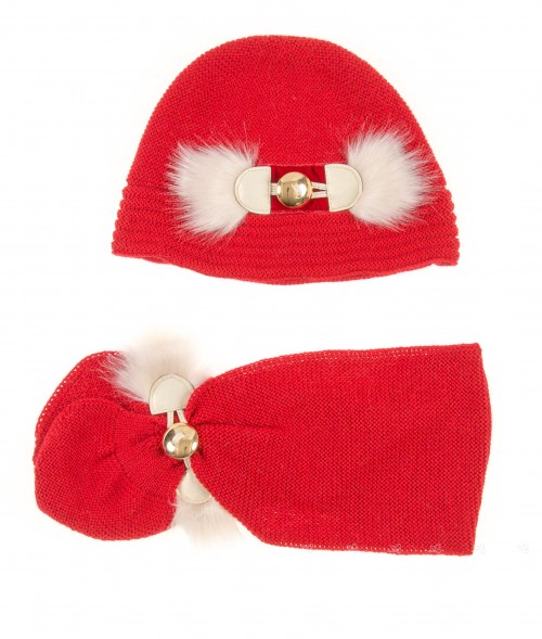Red Knitted Hat & Scarf Set