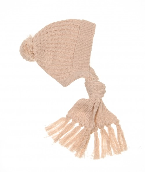 Baby Beige Knitted Hat with Scarf