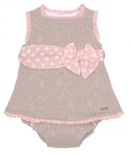 Baby Beige & Pale Pink Dress & Knickers Set