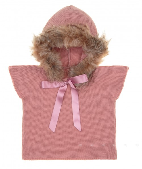 Blush Pink Knitted Poncho Gillet With Synthetic Fur Hood & Satin Bow