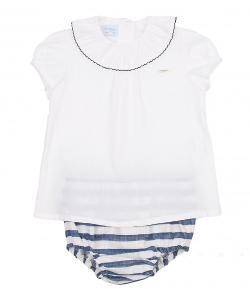 White Cotton Shirt & Navy Stripe Shorts Set