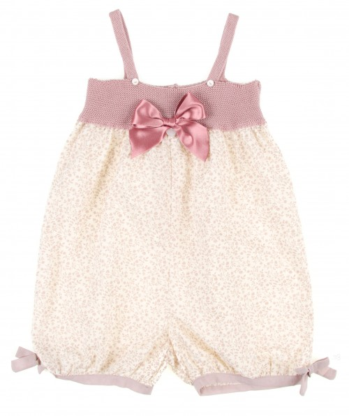 Girls Dusky Pink Knitted & Liberty Print Playsuite