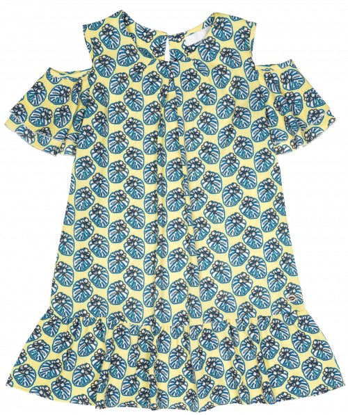 Girls Yellow & Blue Off The Shoulder Dress with Ruffle Hem