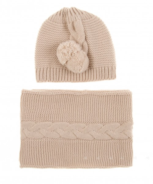 Beige Knitted Hat & Scarf Set with Pompoms