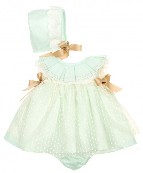 Pastel Green Linen & Tulle 3 piece dress set (DELIVERY 15 APRIL)